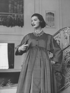 Model Wearing a High Waisted Dresses, This One Designed by Charles James Par: Nina Leen