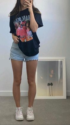 Trendy Summer Outfits, Basic Outfits, Teen Fashion Outfits, Mode Outfits, Retro Outfits, Cute Casual Outfits, Short Outfits, Outfits For Teens, Girl Outfits