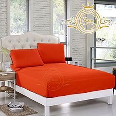 Crown Royal Hotel Collection Beddings 750 Thread Count Egyptian Cotton Fitted Sheet Queen Size 21 Inch Deep Pocket Orange Solid Export Quality *** Click for more Special Deals #Decor#HomeDecor#DecorIdeas#HomeDecorations Hotel Collection Bedding, Crown Royal, Special Deals, Egyptian Cotton, Queen Size, Home Kitchens, Count, Bamboo, Deep