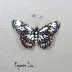 magnet recycled plastic butterfly cm dark purple, silver Jupiter 1 Magnet: wall hanging, curtain, lamp shade, made in France Pearl Grey, Dark Purple, Magnets, Recycling, Decoration, Butterfly, Curtains, Dimensions, Silver