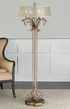LARGE-65-034-BURNISHED-GOLD-METAL-FLOOR-LAMP-GOLD-TEAL-CRYSTAL-LEAF-HARDBACK-SHADE