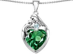 Original Star K(tm) Large Loving Mother With Child Family Pendant With 12mm Heart Shape Simulated Emerald in .925 Sterling Silver Star K. $99.99. Save 50%!
