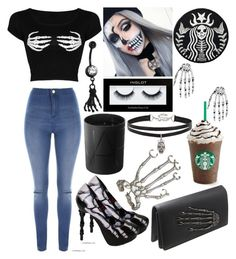 """Skeleton"" by musicmelody1 on Polyvore featuring Jane Norman, Bernard Delettrez, NARS Cosmetics, Inglot and Betsey Johnson"
