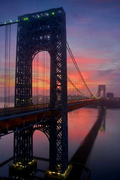 Sunrise At The George Washington Bridge, NYC. I want to go see this place one day. Please check out my website thanks. www.photopix.co.nz