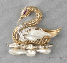 14kt Gold and Gem-set Figural Brooch, designed as a swan set with freshwater pearls, single-cut diamond melee accents, marquise-cut ruby eye