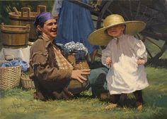 "John Buxton art  - The Little Man 8"" x 11"" oil"
