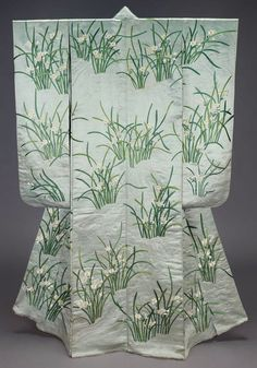 """Furisode (long-sleeved kimono), 19th century, Japan. """"Long-sleeved light blue silk satin robe (furisode) with design of sprays of narcissus and lines suggesting water embroidered with green, white and yellow silk."""" MFA. (William Sturgis Bigelow Collection)"""