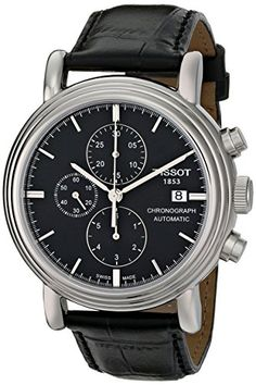 Tissot Mens T0684271605100 Carson Stainless Steel Watch with Black Leather Band *** For more information, visit image link.