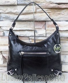 01edf9fa5cae Michael Kors Large Fallon Black Leather Hobo Shoulder Bag Mk Handbags
