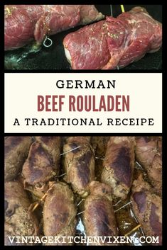 German beef rouladen is a traditional German recipe that's perfect for special occasions or Oktoberfest gatherings. Think thin slices of inside round rolled up with bacon, mustard, pickles, onions and seasoning that's slowly braised until it's melt-in-you Rouladen Recipe, Beef Rouladen, German Rouladen, Food Styling, Beef Roll Ups, Meat Recipes, Cooking Recipes, Recipies, Vegetarische Rezepte