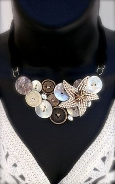 Vintage Jewelry - Vintage Pearl Starfish Pin and Vintage Button Bib Statement Necklace - OOAK. $34.00, via Etsy.