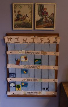 visual calendar made of wool felt to help kids see the rhythm of the days. Finn needs this!