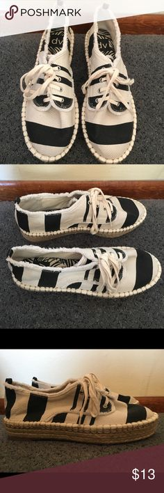 Black and Cream Canvas Stripe Sneakers Espadrilles Never worn. No trades. Price is firm. Target Shoes Sneakers