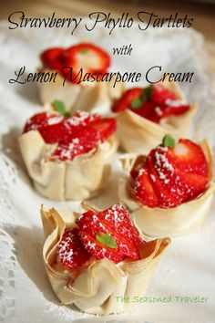 Strawberry Phyllo Tartlets with Lemon Mascarpone Cream