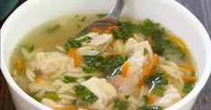 Soupe rapide poulet, citron et orzo Thai Red Curry, Soup Recipes, Cooking, Ethnic Recipes, Food, Tapas, Asian, Fried Cabbage, Sticky Lemon Chicken