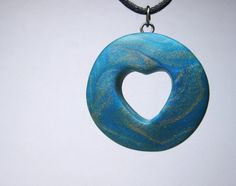 Polymer Clay Necklace, Handmade, Pendant, Gold/Copper and Teal, Heart Jewelry