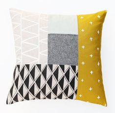Patterned Patchwork Pillow Cover 18.5 x 18.5 by cottonandflaxshop $150 etsy