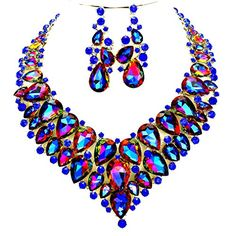 Affordable Wedding Jewelry Blue Ab Rhinestone Silver Chain Necklace Jewelry Earring Set Women's Statement Drag Queen Bride Chritina Collection, Affordable Wedding jewelry http://www.amazon.com/dp/B01BCF2JVO/ref=cm_sw_r_pi_dp_.28Rwb0QXK63B