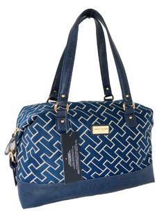 tommy hilfiger blue purse | Tommy Hilfiger Women Bowler Satchel Handbag in Navy Blue by Top Brand ...