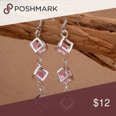 2/$17 925 Silver Pink Crystal Rhinestones Earrings 925 Silver plated Pink Crystal Rhinestones Earrings. Great for any occasion. Jewelry Earrings