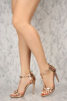 4edd3a3128d Sexy Rose Gold Open Toe Pyramid Studded Accent Single Sole High Heels Faux  Leather Strappy Heels