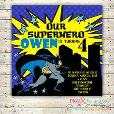Digital Printable Batman Birthday Invitations Square Cards. $15.00, via Etsy.