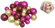 Asstd National Brand Pack of 27 Shatterproof Merlot Gold & Fuschia Christmas Ball Ornaments. Christmas Ornaments. I'm an affiliate marketer. When you click on a link or buy from the retailer, I earn a commission.