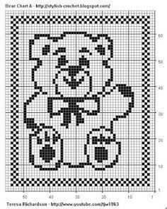 Filet Crochet Bear - Chart A | Free Filet Crochet Charts and Patterns