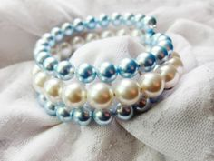 Something Blue Beaded Pearl Wire Wrapped by TheTripleJewel on Etsy, $18.00