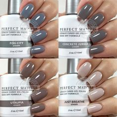 A Few LeChat Perfect Match Neutral Shades – Chickettes Natural Nail Studio & Boutique Neutral Gel Nails, Fall Gel Nails, Neutral Nail Color, Gelish Nail Colours, Gel Polish Colors, Grey Nail Polish, Uv Gel Nail Polish, Kiara Sky Gel Polish, Uv Gel Nails