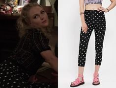 Carrie Bradshaw (AnnaSophia Robb) wears polka dot high-waisted pin up pants in The Carrie Diaries season 2 episode 5 'Too Close for Comfort'...