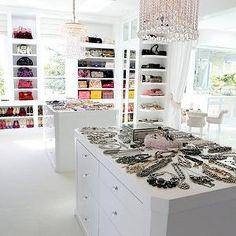 Bravo TV - closets - luxurious closets, walk in closets, huge closets, shelves for bags, shelves for hand bags, hand bag shelves, shelves fo...