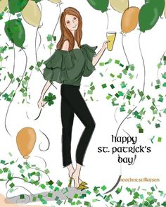 Patrick& Day from Heather Stillufsen of Rose Hill Design Studio. Bon Weekend, Hello Weekend, St Patricks Day Quotes, Happy St Patricks Day, St Patrick's Day Outfit, Weekend Quotes, March Quotes, Cool Words, Illustration