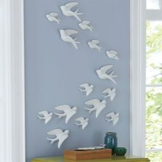Set of Five Birds of Flight Wall Art from Grandin Road $79 imagine this on the coral or dark blue wall! (obv more sets shown here)