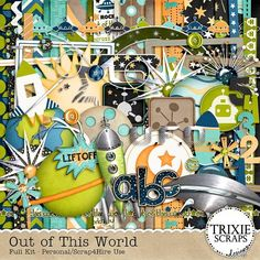 """Out of This World Digital Scrapbooking Kit Disney - Take a trip across this universe with """"Out of This World"""" from Trixie Scraps Designs! Perfect for all your Space Rangers and so much more! This collection is great for everything from Halloween photos to trips to the planetarium and """"Magical"""" vacations, too! Cute for everyday layouts, as well - you'll love this collection to the moon and back!"""