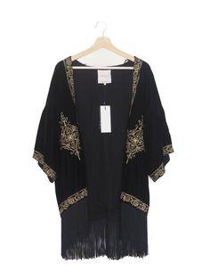 Chaqueta kimono, negro, dorado, bordado, terciopelo, Otoño Invierno, flecos, Zara Kimono jacket, black, gold, velvet, embroidery, fringe, Autumn Winter