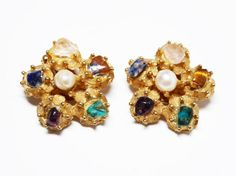 New Listings Daily - Follow Us for UpDates -  Description & Style:  #Vintage Flower Clip on Earrings - Signed BSK - Tigers Eye, Blue Lapis, Green Malachite, Clear Quartz Black Onyx Gemstones - Gold Tone Flowers offered ... #vintage #jewelry #teamlove #etsyretwt #ecochic #thejewelseeker