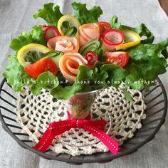 母の日ありがとうの気持ちをこめて♡お花ブーケサラダ♡