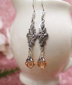 Pink Art Deco earrings Antiqued silver & pink Art Deco