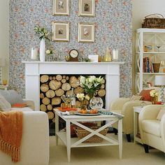 """Contemporary living room with """"Fruit"""", a classic William Morris wallpaper. From 25 Beautiful Homes Magazine. #William_Morris #Morris_and_Co #wallpaper"""
