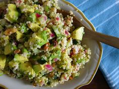 bulgar wheat salad with avocado, cucumber and mint