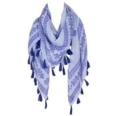 Geometric Scarf Adorable scarf with tassel details. Periwinkle blue with a hint of red. Looks great for any season. (167930001-254) Accessories Scarves & Wraps