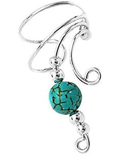 Sterling Silver Right Only Curly Q Simulated Turquoise Bead Ear Cuff Wrap ** To view further for this item, visit the image link. Turquoise Beads, Turquoise Necklace, Cuff Earrings, Latest Jewellery, Gem S, Modern Jewelry, Fashion Jewelry, Personalized Items, Sterling Silver