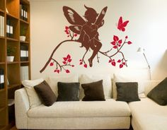 Elf - Wall Decals / Wall Tattoo - BEDTIME STORIES - BEDROOM.  white elf/fairy on light purple walls and dark purple leaves?