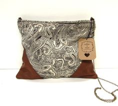 -- This bag is so unique. the contrast between the paisley cotton fabric design, & the brown lambskin leather is so triking - so trendy! Plum Color, Brass Chain, Lambskin Leather, Handmade Bags, Fabric Material, Leather Purses, Fabric Design, Paisley, Cotton Fabric
