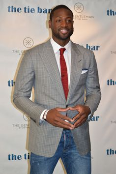 Dwyane Wade sporting The Tie Bar after announcing the launch of his line The Gentleman, available in November through The Tie Bar, www.TheTieBar.com