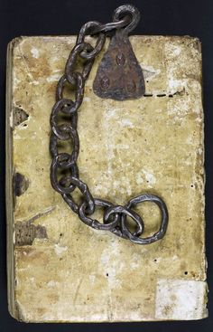 Jailed books Medieval books were incredibly expensive. When placed in a public place, for example in a cathedral or public library, they were often chained to the lectern or bookshelf on which they were placed (as you can see in this blog about Zutphen's chained library). It turned the book into a prisoner. The chain and the book-attachment are almost always clunky, the chains usually rattly. Reading a book like this was a challenging and particularly noisy affair! It was not ...