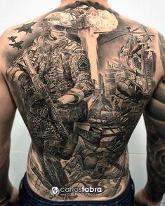 """""""LIFE IS WAR"""" Espalda completa totalmente curada para @bulibas  La guerra no es un juego. Nadie acaba ganando cuando todo se destruye. Gracias tío por conmemorar este proyecto tan importante para ti  realizado en @cosafina_tattoo #tat #tattoo #tattoos #tatuaje #tattooartist #backpiece #war #tank #soldier #skinartmag #thebestspaintattooartists #thebesttattooartists #bnginksociety #thebestbngtattooartists #cosafinatattoo #carlosfabra"""