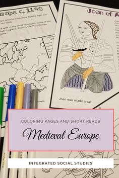 Use as a preview, review, or as a substitute lesson plan, these medieval Europe coloring pages can be used at any grade level. Younger students, struggling readers of all ages, or ESL students have an opportunity for reading practice. The passages are short and match the picture included. This is a print and go resource and can be used for the entire unit. Check out more details at my TpT store. #historyresource #middleages