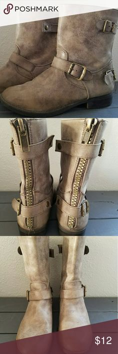 boots Taupe zipper back boots Soda Shoes Ankle Boots & Booties